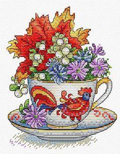 Настойка осени Embroidery Kits, Cross Stitch Embroidery, Cross Stitching, Cross Stitch Patterns, Autumn Tea, Counted Cross Stitch Kits, Fall Flowers, Free Pattern, Crafty