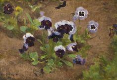 Eero Järnefelt (Finlandais, 1863 - Violets , Oil painting, 26 x 38 cm Helene Schjerfbeck, Types Of Flowers, Global Art, Violets, Art Market, Pansies, Bloom, Flower Paintings, Painters