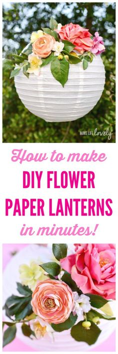 How to make DIY flower paper lanterns in minutes! These pretty paper lanterns are the perfect decorations for baby showers bridal showers birthdays weddings nursery decor and more. They last forever too since they're made with silk flowers! Paper Lantern Centerpieces, Paper Lanterns, Flower Centerpieces, Bridal Shower Balloons, Baby Shower Centerpieces, Bridal Shower Decorations, Diy Flowers, Paper Flowers, Wedding Flowers