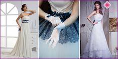 Brudekjole med en blå bælte: smukke stilarter og modeller med fotos