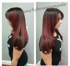 Red bombshell with angles and layers by me! Elumen Hair Color, Bombshells, Angles, Layers, Long Hair Styles, Red, Beauty, Layering