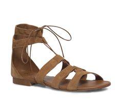 Sandale plate lacet croûte de cuir camel