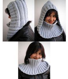 Inspiration for crochet Tejido a palillo Crochet Hooded Scarf, Knit Cowl, Knit Or Crochet, Crochet Shawl, Loom Knitting, Hand Knitting, Knitting Patterns, Crochet Summer Hats, Knitting Accessories