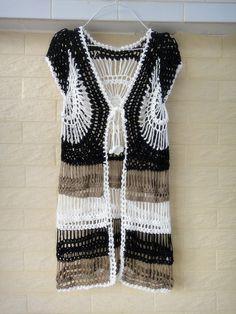 Long Crochet Vest Cardigans for Women Tunic Cover Up
