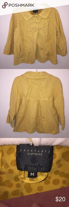 Sanctuary Mustard Yellow Coat Size M, in excellent condition! Color is a mustard hello. Sleeves are 3/4. Pair with white denim and heels. Feel free to ask any questions! No trades sorry, offers thru offer button only please. 🔥 Sanctuary Jackets & Coats