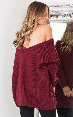 oversized dress jumper V neck Backless Sweater, Backless Top, Red Jumper, Burgundy Sweater, Long Sweaters, Sweaters For Women, Deep V Dress, Oversized Dress, One Shoulder Tops