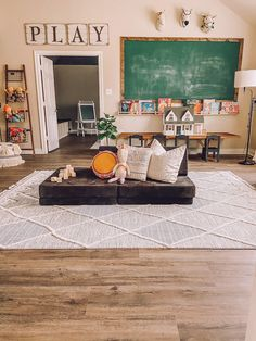 This playroom has seen lots of use over the past few days! Swipe You can find Kids decor and more on our website. Montessori Playroom, Toddler Playroom, Office Playroom, Playroom Organization, Playroom Design, Playroom Decor, Playroom Flooring, Playroom Ideas, Kids Decor
