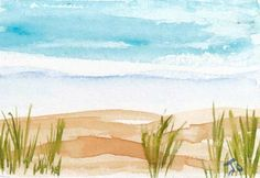 Easy Watercolor Paintings Of Beaches Beach aceo painting simple