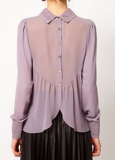 Button Closure Long Sleeve Purple Shirt