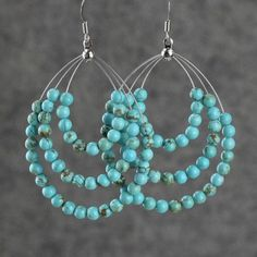 Turquoise big tear drop hoop earrings Bridesmaids gifts Free US Shipping handmade Anni Designs #JewelryDIY