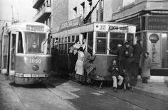 Foto antigua de tranvías en Paseo de las Delicias MADRID