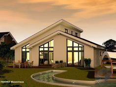 Chalet 132 von Favorit Massivhaus ➤ Alle Häuser unter: https://www.fertighaus.de/haeuser/suche/ Fertighaus, Einfamilienhaus, Fertigteilhaus, Eigenheim, Fertigbau, Bungalow, Barrierefreies Haus, Bungalow bauen