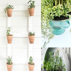 Ahhhhh… these creative containers gardens are making my heart sing! who else is ready for spring? Chair Planter, Wood Planter Box, Wood Planters, Outdoor Planters, Outdoor Gardens, Large Plants, Cool Plants, Garden Pots, Garden Ideas