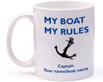 Personalised boat mug. Narrow Boat, Yacht, boat with your name or boat name