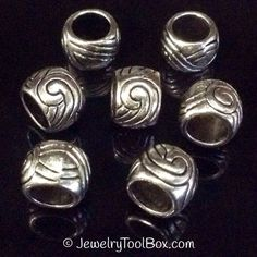 Pewter Rondelle Beads, Antique Silver Finish, 7x10mm, 6mm Large Hole, Lead Free, Lot Size 6 to 25, #1107