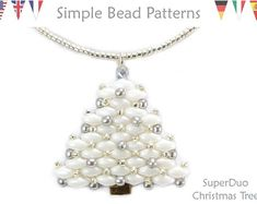 Beaded Christmas Tree Pendant Necklace and Earrings - Super Duo Two Hole Beads - PDF - Simple Bead Patterns - SuperDuo Christmas Tree - Vikki Dahill Christmas Tree Earrings, Christmas Jewelry, Xmas Ornaments, Jewelry Patterns, Beading Patterns, Jewelry Ideas, Beading Ideas, Loom Patterns, Bracelet Patterns
