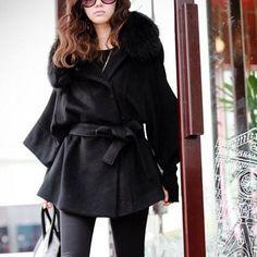 Fashion Fur Collar Solid Color Bat Sleeve Maternity Wear Oversized Coat