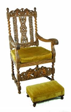 Antique Carved Renaissance Style Throne Chair Double Eagles Cherubs