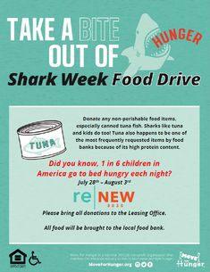 We've partnered with Move For Hunger to help fight hunger. Please bring any non-perishable food items to the office starting July to August for our Shark Week Food Drive. Anything you can donate is greatly appreciated. Non Perishable Food Items, Maryland Heights, Pet Friendly Apartments, Food Drive, July 28, Shark Week, Take That, How To Apply, Thankful