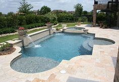 swimming pool landscaping ideas pictures Choose footing materials that are coar. - swimming pool landscaping ideas pictures Choose footing materials that are coarse-textured, such a - Swimming Pool Landscaping, Swimming Pool Designs, Landscaping Ideas, Yard Landscaping, Spas, Living Pool, Pool Remodel, Modern Pools, Beautiful Pools