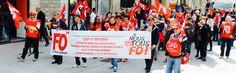 Le syndicat FORCE OUVRIÈRE a fait confiance à MALOU CRÉAMIR pour sa banderole - calicot pour la manifestation du 15 mai 2014 à Dijon