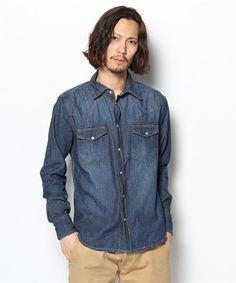 西部牛仔襯衫LS航班MEN'S(U〜igomenzu)(襯衫,襯衫)|深靛藍