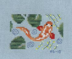 cross stitch koi fish   Another small finish and link to another blog's giveaway
