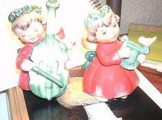 Lefton Christmas Angel Figurine Set of 2 w/Musical Instruments+Yellow Bird 1259 | #471604263
