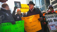 Demonstrators in Chicago call for an end to gun violence and resignation of Chicago Mayor Rahm Emanuel. Chicago police are under scrutiny following the release of a video showing the shooting of 17-year-old Laquan McDonald by a Chicago police officer.