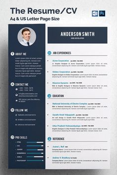 This Is The Resume/CV Template. Elegant page designs are easy to use and customize. The Resume/CV A4 & US Letter size CV/Resume + Portfolio + Cover Letter Icons used as smart objects CMYK @ 300 DPI – Print-ready Easy to Edit CMYK @ 300 DPI – Print-ready PSD Files,Indesigne Files, Ai Files and DOC Files Only Free Fonts used Files Included 4 .doc files 4 .docx files 4 .psd files Free Font Raleway