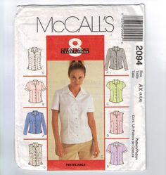 Misses Sewing Pattern McCalls 2094 Misses Shifts Fitted Button Front Shirt Multisize Size 4 6 8 10 12 14 UNCUT