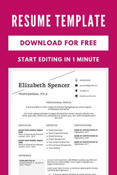 Make a professional resume and cover letter with this free resume template. Resume Template Examples, Resume Template Free, Creative Resume Templates, Resume Layout, Resume Design, Cover Letters, Cover Letter For Resume, First Resume, Resume Profile