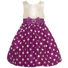 Mia Juliana Little Girls Wine Ivory Polka Dot Brooch Christmas Dress 2T-6X