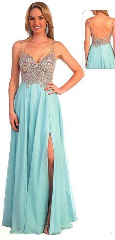 Prom Dresses Evening Dresses under $300<BR>25060<BR>radiant long V neckline dress beaded bust flowing chiffon skirt