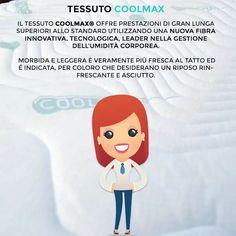 """Tessuto per materassi e cuscini chiamato """"Coolmax"""" generalmente utilizzato per tessuti sportivi in quanto è un tessuto anti umidità che termo regola anche la temperatura del corpo."""