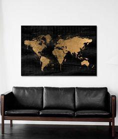 Mapamundi Gold Canvas Print - love this!!