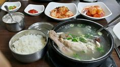 중복, Second of three dog days Hot and hot !!! Let's go samgyetang restaurant today. And as you know that today is one of the three hottest days in Korea. We call it 중복(Jungbok). In this day, Korean try to eat healthy food to recover the energy. Samgyetang, the chicken soup with ginseng is the most popular food on this day. Here is a photo of its table that I too right before eating. Surely, grab the spoon and do big scoop !!! Taste fresh chicken soup.  #samgyetang #boknal #Koreanfood