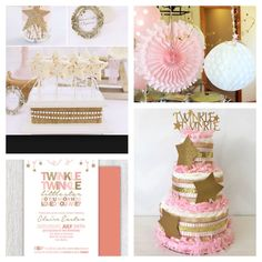 This stunning diaper cake is designed in a pink and gold theme that would make the perfect centerpiece at the upcoming twinkle twinkle little star baby shower!  TWINKLE TWINKLE LITTLE STAR DIAPER CAKE INCLUDES: ------------------------------------------------------------------------------------------------ 40-45 Pampers Swaddlers Disposable Diapers in Size 1 (8-14 lbs) Quality Burlap and Ribbons Handcrafted Gold Glitter Stars and Twinkle Twinkle Topper Light Pink Tissue Paper Garland…