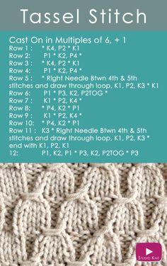 How to Knit the TASSEL Stitch Pattern with Studio Knit Easy Free Knitting Pattern #knitstitchpattern #studioknit