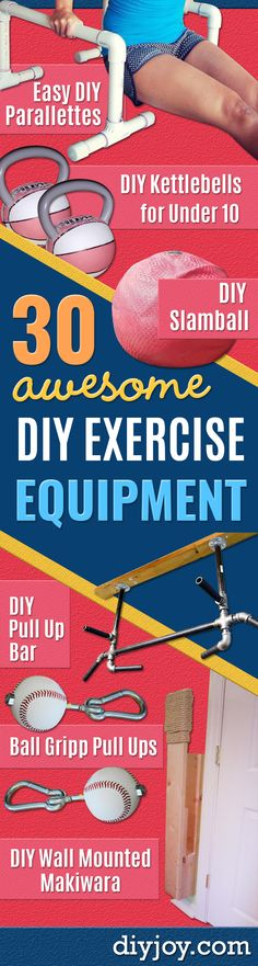 DIY Exercise Equipment Projects - Homemade Weights and Strength Training Projects - How To Build Simple and Easy Fitness Equipment, Yoga Mats, PVC Pipe Ideas for Butt Workouts, Strength Training and Do It Yourself Workouts At Home http://diyjoy.com/diy-exercise-equipment