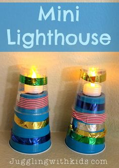 Mini Lighthouse Craft - Malabares con niños - Lilly is Love Sea Crafts, Light Crafts, Whale Crafts, Toddler Crafts, Preschool Crafts, Preschool Ideas, Crafts For Seniors, Crafts For Kids, Michigan Crafts