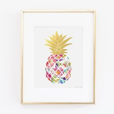 Pineapple Art Print Digital Art Watercolor Art by PennyJaneDesign