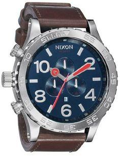 Nixon 51-30 Chrono Leather Watch - Navy X One Size NIXON