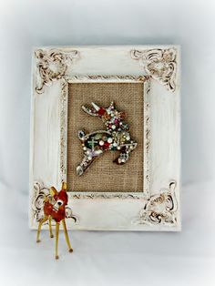 Bejeweled Christmas Reindeer Wall Art, Jewelry Mosaic Wall Decor, Shabby Holiday Decor