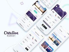 Screens of Flights App: home Versions), card view, calendar, Iphone App Design, App Ui Design, Mobile App Design, Mobile Ui, Flight App, App Login, Free Instagram, Jfk, Free Design