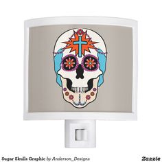 Sugar Skull Graphic Night Lite by @andersondesigns #nightlights #sugarskulls