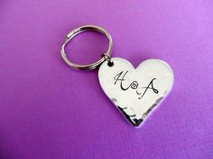 Personalized Keychain - Heart Keychain - Initials - Hand stamped Heart Key Chain Accessory A Letter Wallpaper, Sinchan Wallpaper, Valentines Surprise, Valentine Gifts, Stylish Alphabets, Alphabet Letters Design, Beautiful Love Pictures, Love Tattoos, Key Chain
