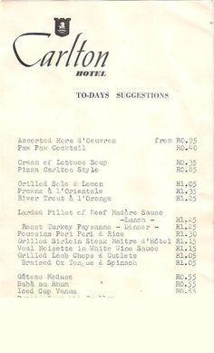 1963 menu at the best hotel in Jo'burg!