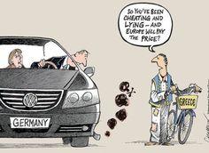 Το σκίτσο με την Μέρκελ, τον Έλληνα και τo αυτοκίνητο VW που κάνει τον γύρο του διαδικτύου.Το σκίτσο ανήκει στον Patrick Chappatte/ Chappatte Cartoons