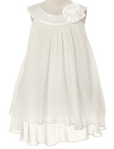 85ddf968673bc Satin Bib Neckline & Chiffon A-line Big Girls Flower Girl Dress: Satin bib  neckline and high multi chiffon A-line dress. Accented with hand-rolled  rose on ...